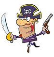 Pirate brandishing sword and gun vector