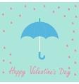 Pink heart rain with blue umbrella flat design vector