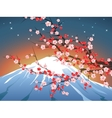 Landscape with sakura and fuji vector