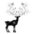 Deer with snowflakes horns vector