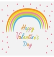 Rainbow and pink heart rain flat design style vector
