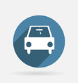 Car symbol circle blue icon with shadow vector