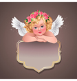 Retro angel banner vector