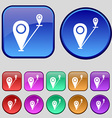 Map pointer icon sign a set of twelve vintage vector