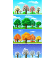 Four seasons trees and landscape banners vector