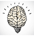 Brain and lamp concept in doodle style vector