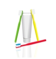 Toothpaste and toothbrush vector