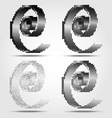 Stylized black spiral halftone icons vector
