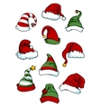 Clown joker and santa claus cartoon hats vector