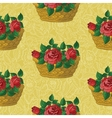 Seamless floral pattern basket with roses vector