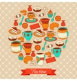 Round pattern with tea coffee and sweets vector
