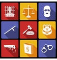 Law and justice icons flat vector