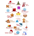 Large set with christmas ornaments vector