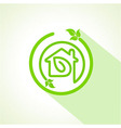 Eco home icon with leaf vector