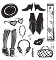Hipster woman clothing and accessories collection vector