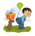 Little boy and his dog birthday card vector