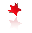 Red star with bent corners vector