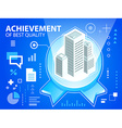 Bright emblem and buildings on blue backgrou vector