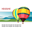 Colorful hot air balloons mountain background vector