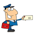 Postal worker mail man holding a letter vector