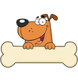 Cartoon dog over bone banner vector