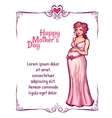 Pregnant woman in pink dress vector