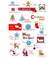 Christmas and new year symbols set vector