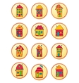 Round icons with cute cartoon-style houses vector