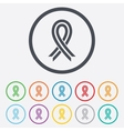 Ribbon sign icon breast cancer awareness symbol vector