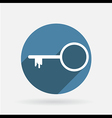 Key symbol icon circle blue icon with shadow vector