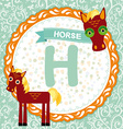 Abc animals h is horse childrens english alphabet vector