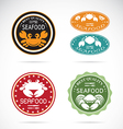 Set of an crab seafood label vector