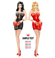 Ladies in red and black vector