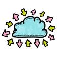 Doodle media cloud with arrows vector
