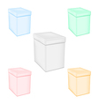 Set colorful closed unprinted boxes vector