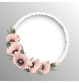 Pink poppies floral round frame vector