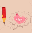 Valentines with pencil drawing love heart bubble vector