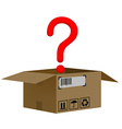 Box with a question mark isolated on white vector
