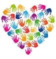 Hand print heart vector