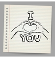 Hand-drawn valentines day love you vector