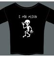 Cute little extraterrestrial alien on a t-shirt vector