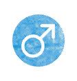Male symbol mars icon with pixel print halftone vector