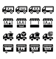 Food truck food stand and food trailer icons set vector