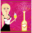Champagne bottle and beautiful girl with vector