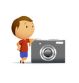 Little men with big camera vector