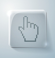 Glass square icon mouse hand cursor vector