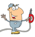 Caucasian cartoon gas attendant man vector