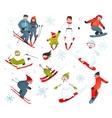 Skier snowboarder snowflakes winter sport vector