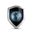 Metal shield with the image of planet earth vector