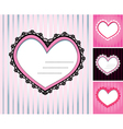 Set of 4 hearts shape lace doily on stripe backgro vector